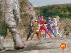 Wild Force Rangers face off with the Jungle Sword