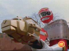 Red Ranger uses the Lion Blaster to destroy the Org