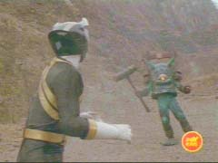 Black Ranger confronts Bell Org